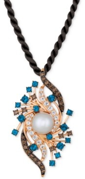 """LeVian Le Vian Crazy Collection Cultured Freshwater Pearl (9mm) & Multi-Gemstone (2-5/8 ct. t.w.) Silk Cord 18"""" Pendant Necklace in 14k Rose Gold"""