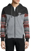 PRPS Printed-Sleeve Zip Hoodie W/Nylon Yoke, Medium Gray