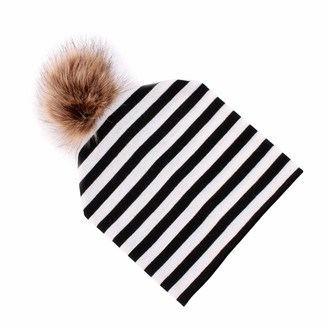 Fenteer Winter Outdoor Women's Warm Knit With Pom Cute Beanie Hats - Black White Striped as described