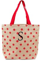 Cathy's Concepts Monogram Polka Dot Jute Tote - Red