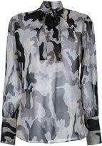Nili Lotan camouflage pussy bow blouse