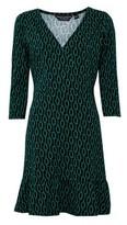 Dorothy Perkins Womens Green Geometric Print Jersey Wrap Dress