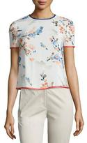 Armani Collezioni Floral-Print Silk Short-Sleeve Blouse, Multi