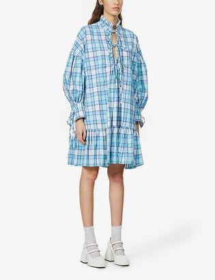 MSGM Abito checked cotton mini dress