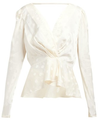Johanna Ortiz Pale Young Eyes Polka-dot Satin-jacquard Top - Ivory