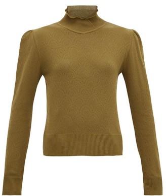 Symonds Pearmain - Ruffle-neck Pointelle-knit Cotton Sweater - Brown