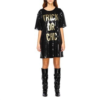 Moschino Dress Halloween Collection Dress In Sequins With Trick Or Chic Writing