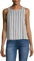 Lucca Couture Women's Striped Lace Up Shell