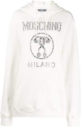 Moschino embellished logo hoodie