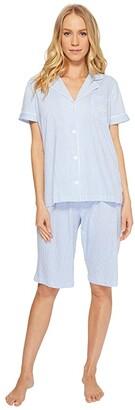 Lauren Ralph Lauren Short Sleeve Notch Collar Bermuda PJ Set (French Blue/White Stripe) Women's Pajama Sets