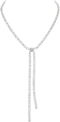 Fallon Draped Crystal-Embellished Brass Lariat Necklace