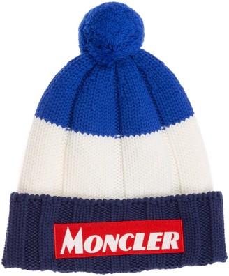 Moncler Tricolour Logo Pom Pom Beanie