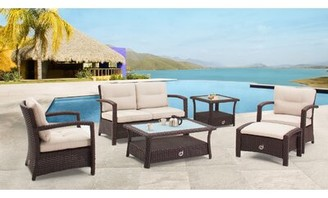 Farrar 6 Piece Rattan Sofa Seating Group with Cushions Darby Home Co