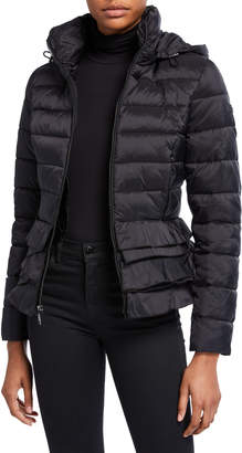 T Tahari Zoey Flare-Hem Stand-Collar Packable Puffer Jacket