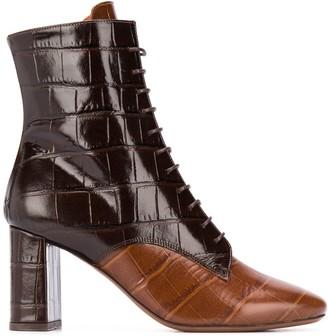 L'Autre Chose Crocodile-Effect Lace-Up Ankle Boots