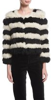 Alice + Olivia Fawn Long-Sleeve Striped Fur Jacket