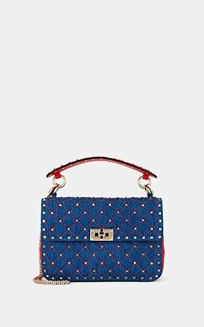 Valentino Women's Rockstud Spike Medium Denim Shoulder Bag - Blue