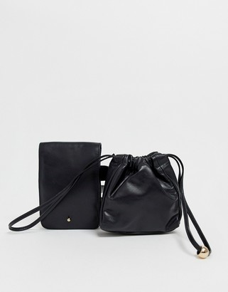 Urban Code Urbancode real leather and suede belt bag-Black