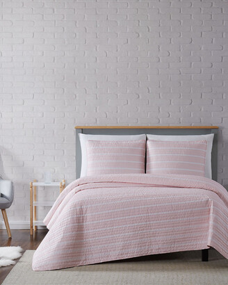 Truly Soft Maddow Stripe Blush Quilt Set