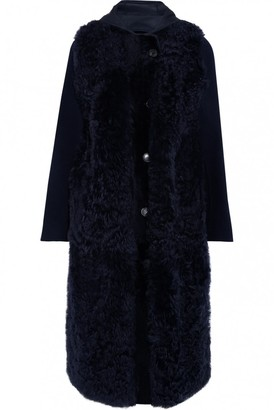 Yves Salomon Navy Shearling Coat for Women