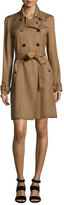 Veronica Beard Hutton Double-Breasted Twill Trench Dress, Khaki