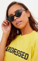 PrettyLittleThing Black Extreme Cat Eye Slim Retro Sunglasses