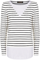 Jaeger Jersey Woven Stripe Top, Ivory/Black