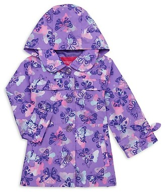 London Fog Baby Girl's Butterfly-Print Trench Coat