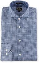 Neiman Marcus Extra Trim Fit Textured-Dot Dress Shirt, Blue