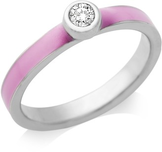 Miore By Joy Ladies' Sterling Silver Zirconia Engagement Ring with Pink Enamel Shoulders- Size L