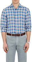 Finamore MEN'S PLAID SLUB-WEAVE SHIRT-BLUE SIZE M