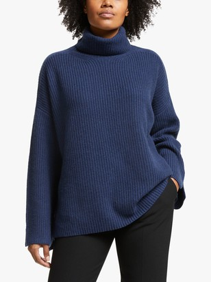 Modern Rarity Roll Neck Cashmere Jumper, Navy