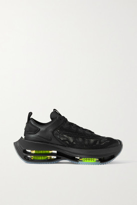 Nike Zoom Double Stack Nubuck-trimmed Mesh And Leather Sneakers - Black