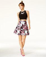 Blondie Nites Juniors' 2-Pc. Floral-Print A-Line Dress