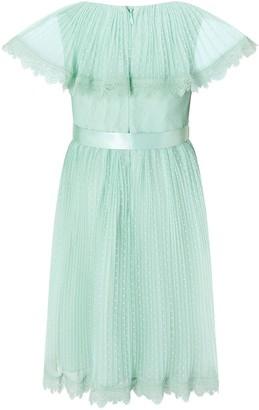 Monsoon Girls Dotty Cape Dress - Mint