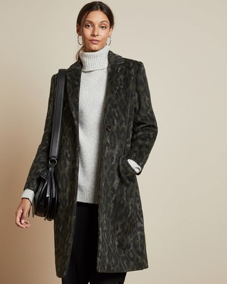 Ted Baker Leopard Print Cocoon Coat