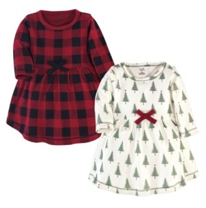 Touched by Nature Toddler and Big Girls Tree Plaid Long-Sleeve Dresses, Pack of 2