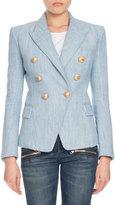 Balmain Double-Breasted Chambray Tweed Blazer, Denim