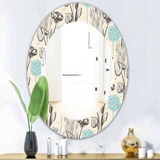 Design Art Designart Vintage Flower Pattern Bohemian And Eclectic Mirror Oval Or Round Wall Mirror Shopstyle