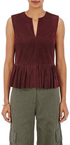 Robert Rodriguez Women's Suede Peplum Top-Burgundy