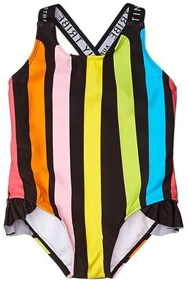 TINY TRIBE Stripe Cross-Back Frilly Tank (Infant) (Black) Girl's Swimsuits One Piece