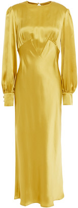 Olivia von Halle Aureta Ruched Silk-satin Midi Dress