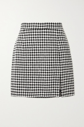 Alessandra Rich Sequin-embellished Houndstooth Tweed Mini Skirt - Black