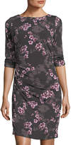 Chetta B 3/4-Sleeve Shirred Jersey Dress