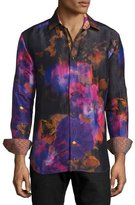 Robert Graham Limited Edition Tie-Dye Floral Sport Shirt, Multi Colors