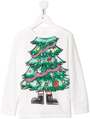 Stella Mccartney Kids Christmas tree-print organic-cotton T-shirt