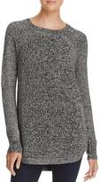 Aqua Marled Side Zip Crewneck Sweater