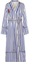Off-White Embroidered Striped Satin Coat - Blue