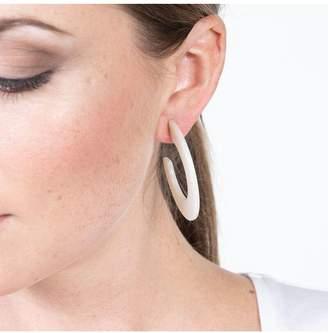 Kenneth Jay Lane Ivory C Shape Hoop Pierced Earrings