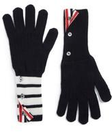 Thom Browne Men's 4-Bar Stripe Cashmere Gloves